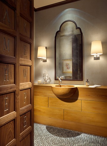wooden powder room