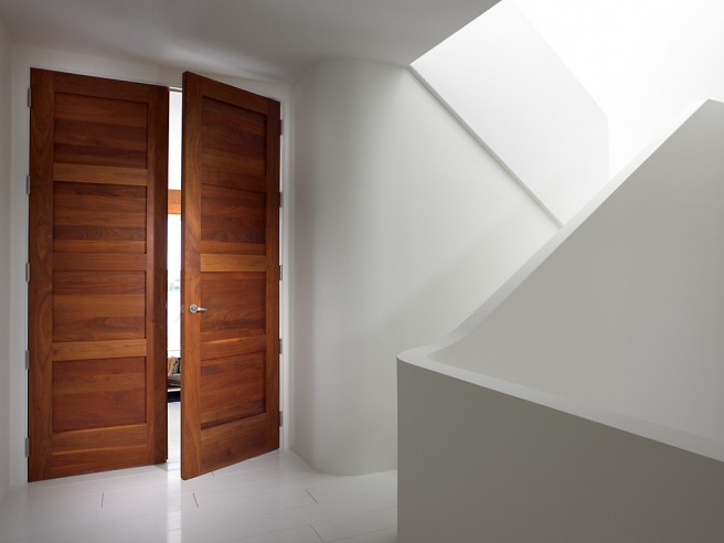 wood doors stairway