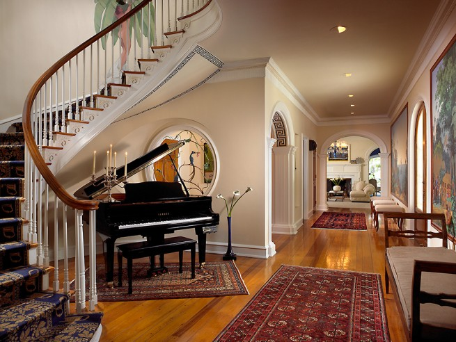 curved staircase piano
