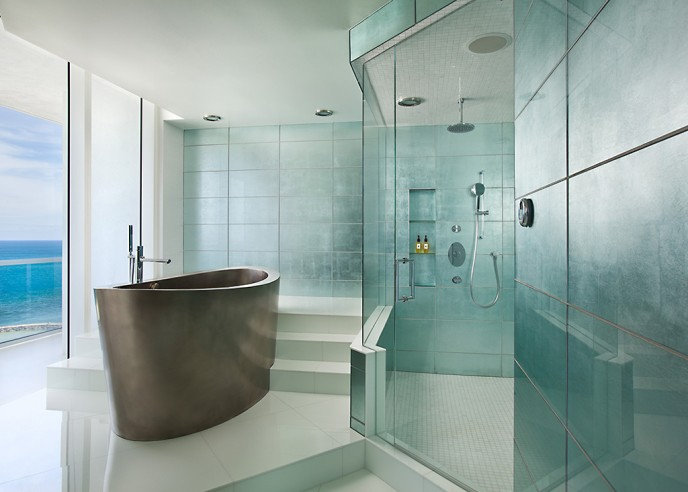 glass master bath